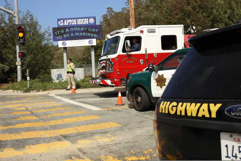 The scene outside Aptos High on Tuesday afternoon as the school went into lockdown.