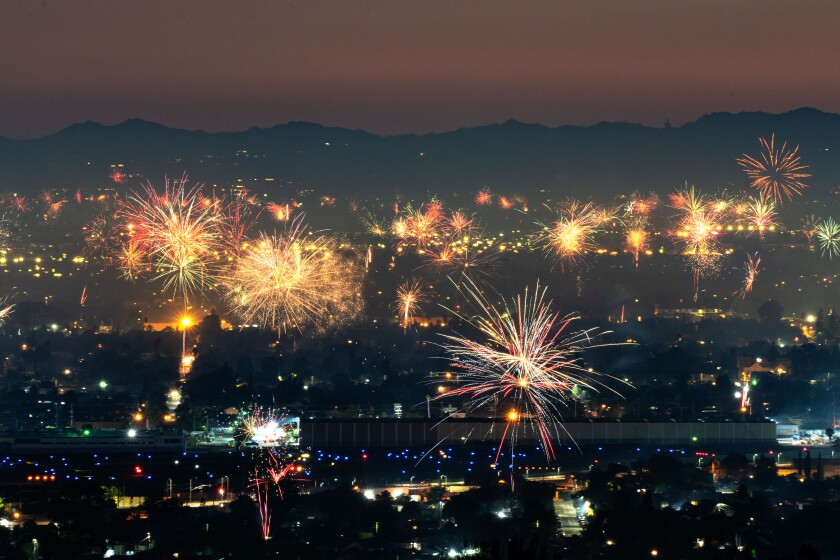 Fireworks over North Hollywood