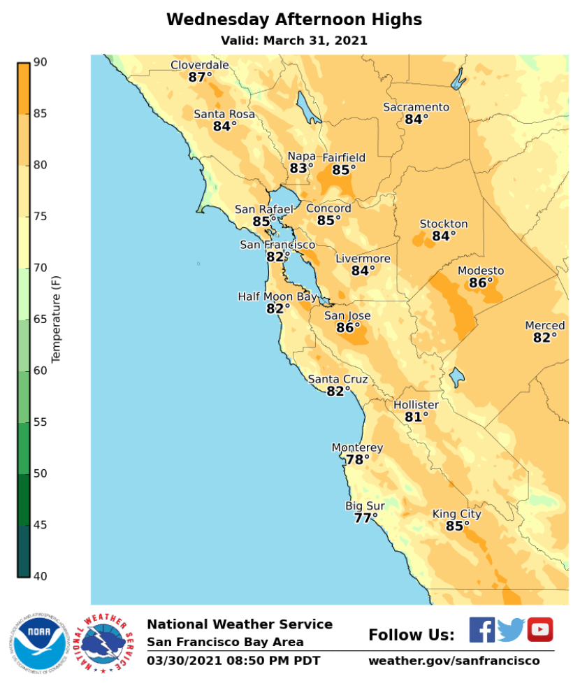 Warming temperatures on Wednesday in Bay Area