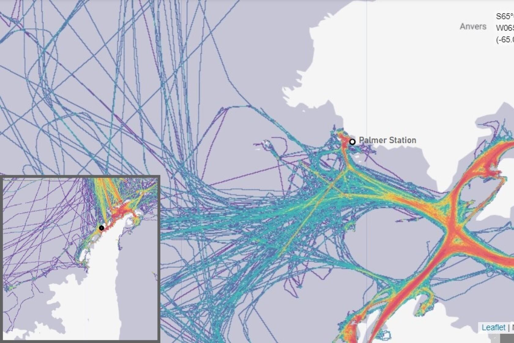 Boat traffic heat map for 2019 at Palmer Station, Antarctica; Monterey Bay, California; and Stellwagen Bank.