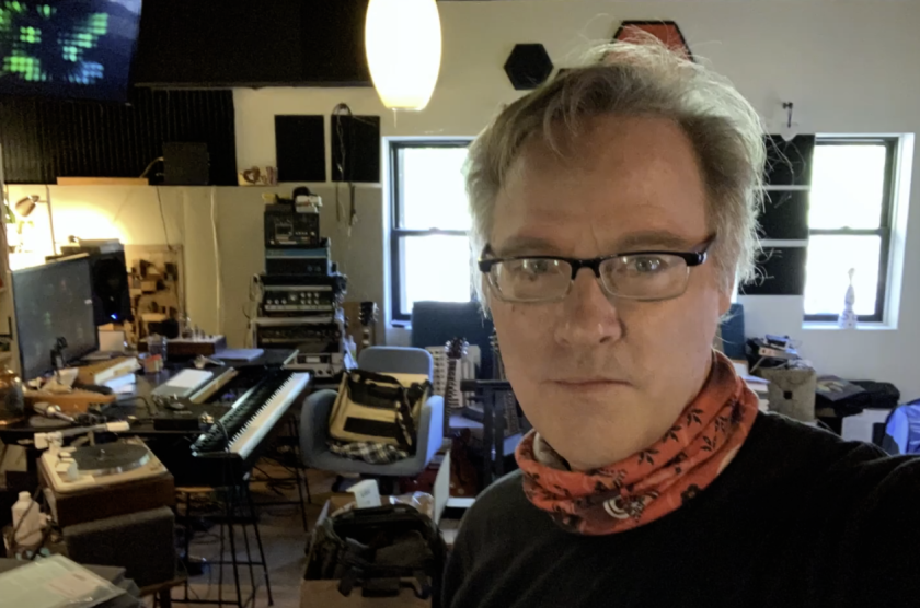 Alen Clapp in his home studio in Boulder Creek before evacuation.