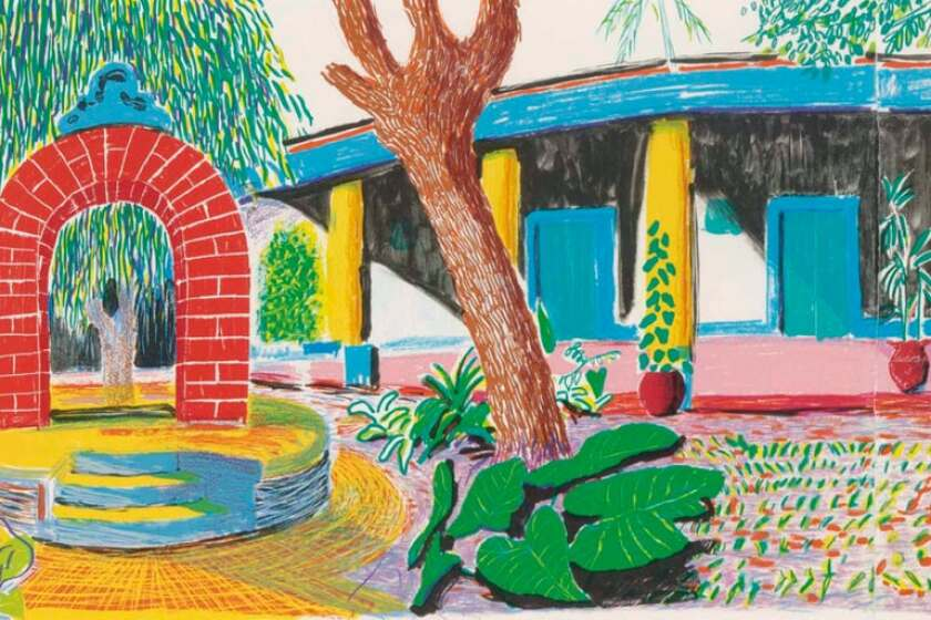 Hotel Acatlan painting, Second Day lithograph by David Hockney