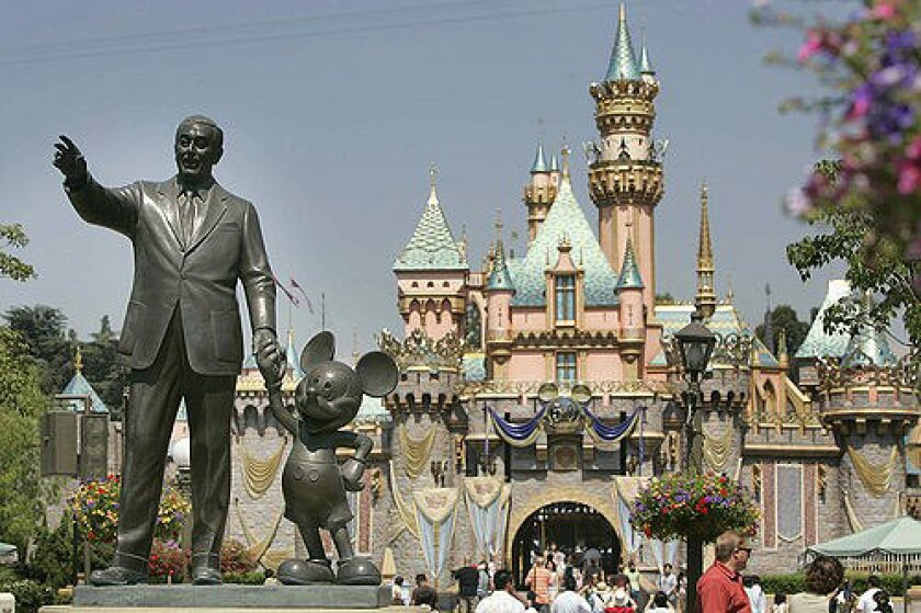 Two American icons--Walt Disney and Mickey Mouse--are memorialized at the Sleeping Beauty Castle in Disneyland.