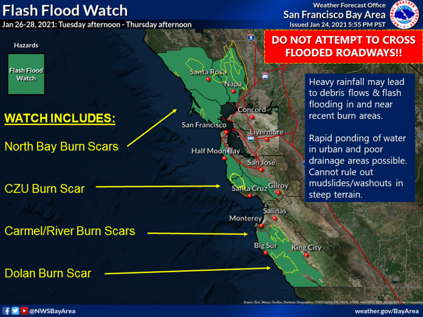 """The National Weather Service has issued multiple advisories as forecasters watch an """"atmospheric river"""" event"""