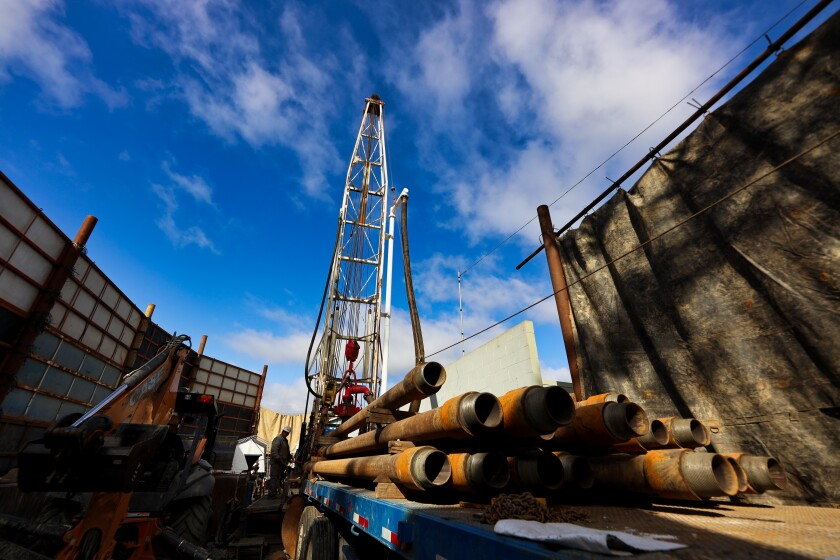 Drilling in progress at a seawater intrusion prevention well on Monterey Avenue in Capitola.