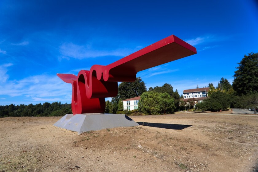 """""""The Squiggle"""" sculpture at UCSC's Porter College."""