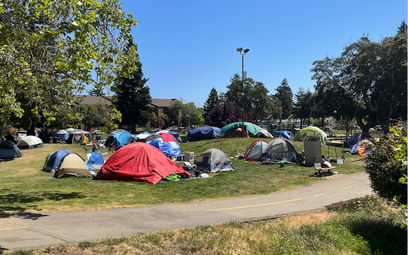 The homeless encampment at San Lorenzo Park, as seen earlier this month.