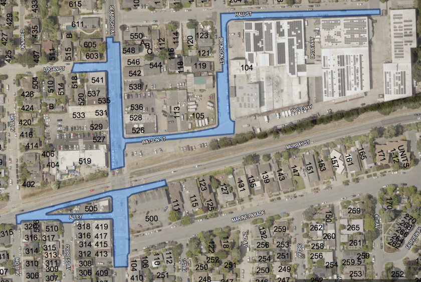 Areas in Seabright industrial zone where overnight camping is allowed under the temporary outdoor living ordinance.