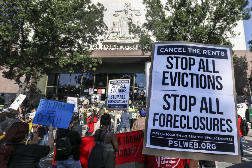 LOS ANGELES, CA - SEPTEMBER 02: A broad coalition of tenants and housing rights organizers rally at Stanley Mosk Courthouse to protest eviction orders issued against renters Stanley Mosk Courthouse on Wednesday, Sept. 2, 2020 in Los Angeles, CA. (Irfan Khan / Los Angeles Times)