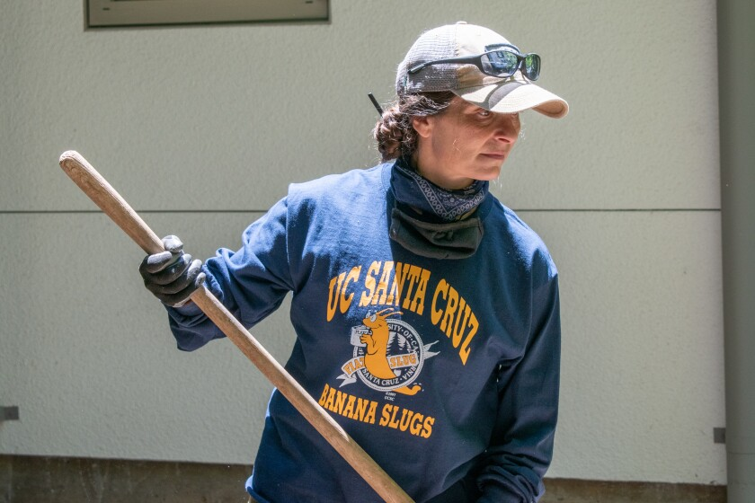 Katharina Pierini will get her UCSC degree Saturday then return to work as a groundskeeper Monday.