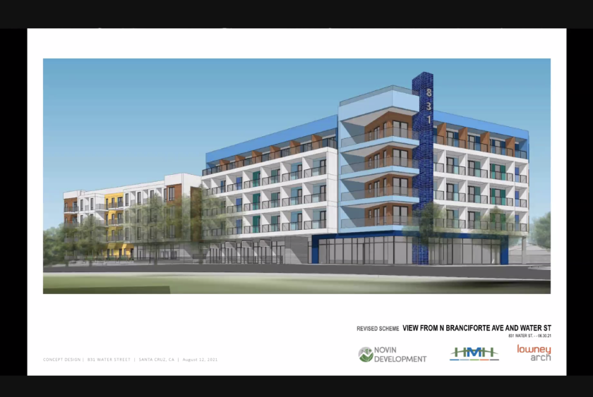 The proposed view of the 831 Water St. building from Branciforte and Water.