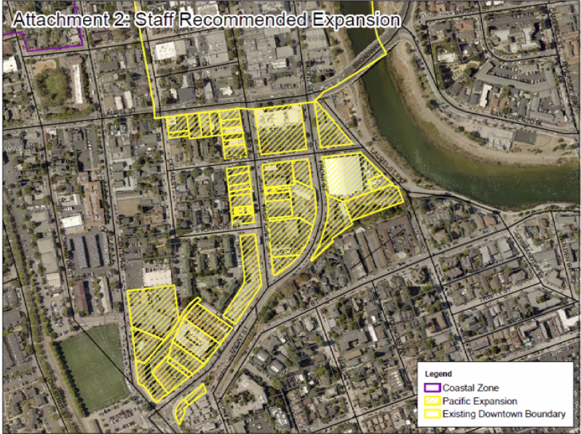 A map showing the proposed expanded footprint for downtown Santa Cruz
