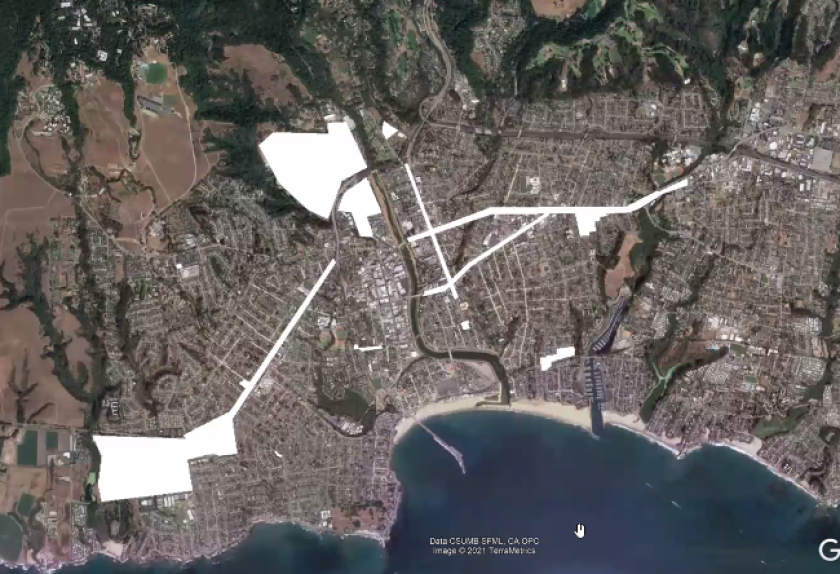 A rough draft of a map created by Santa Cruz Planning Director Lee Butler to show areas where camping would be permitted.