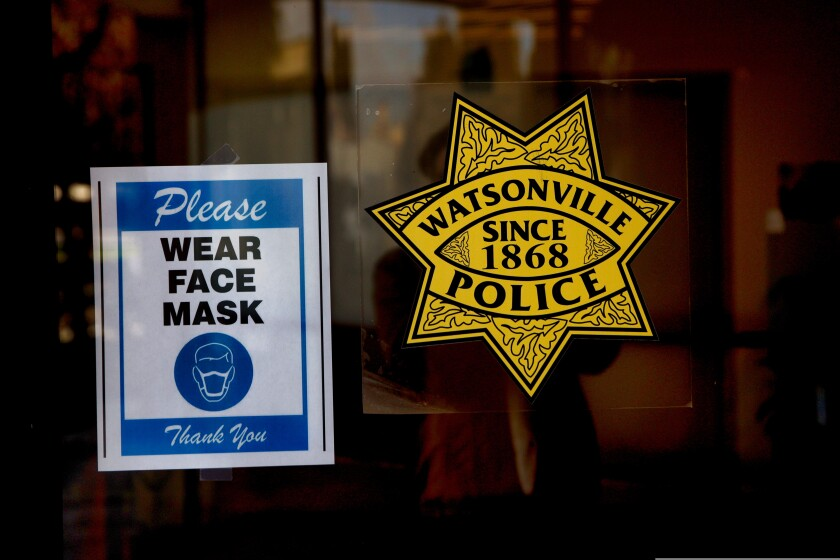 The entrance to the Watsonville Police Department on Dec. 15, 2020.