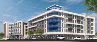 A preliminary rendering of the development at 831 Water Street in Santa Cruz.