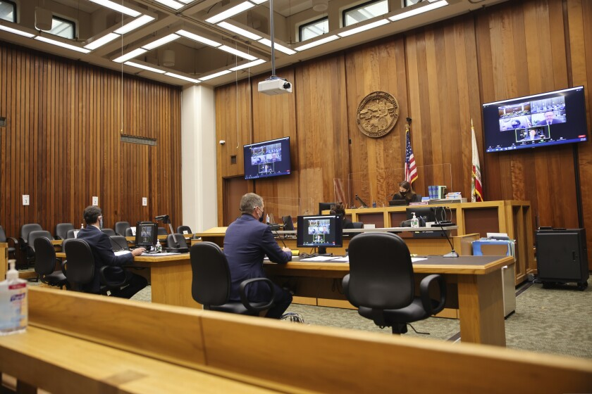 The courtroom scene on Tuesday.