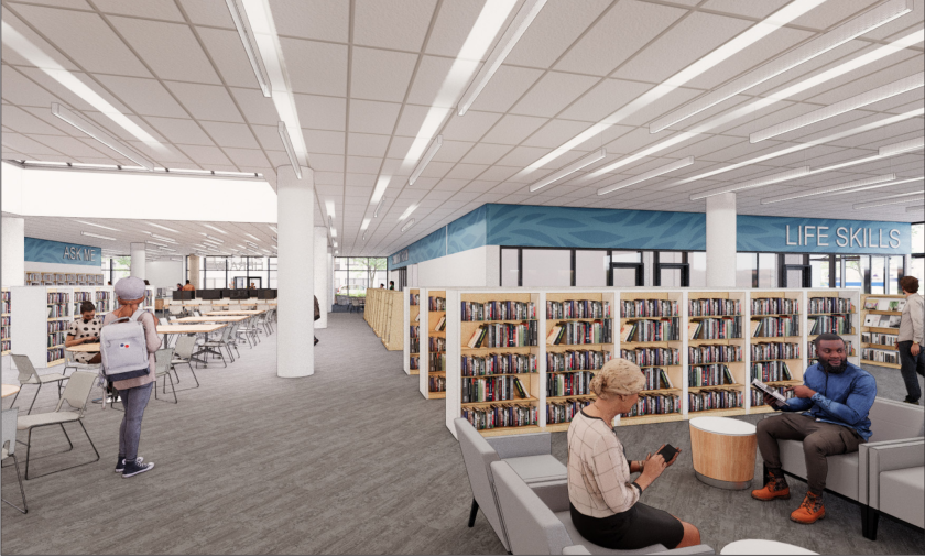 An interior rendering of what the downtown Santa Cruz library might look like.