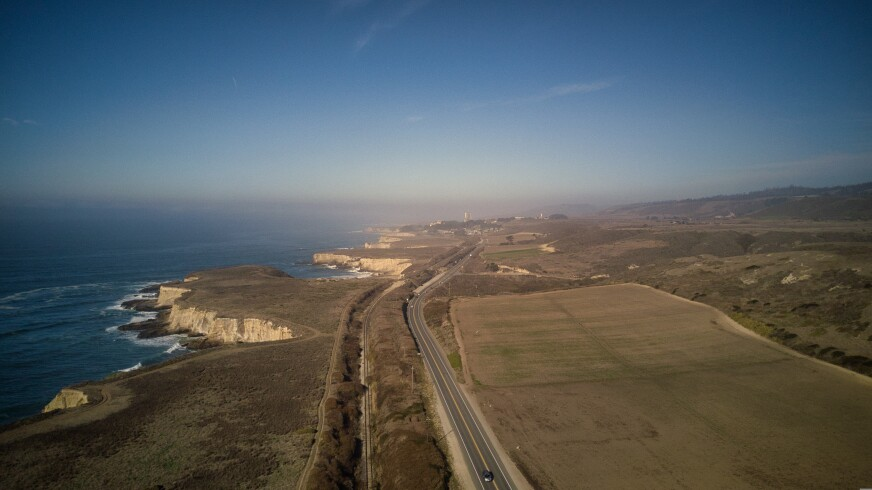 An aerial view looking out towards some of the Cotoni-Coast Dairies National Monument.