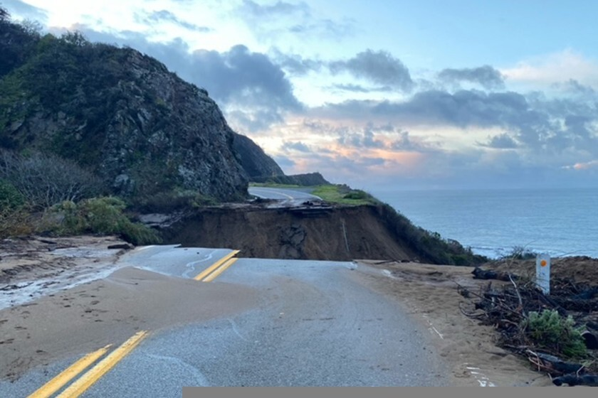 A section of Highway 1 is collapsed after a heavy rainstorm near Big Sur.