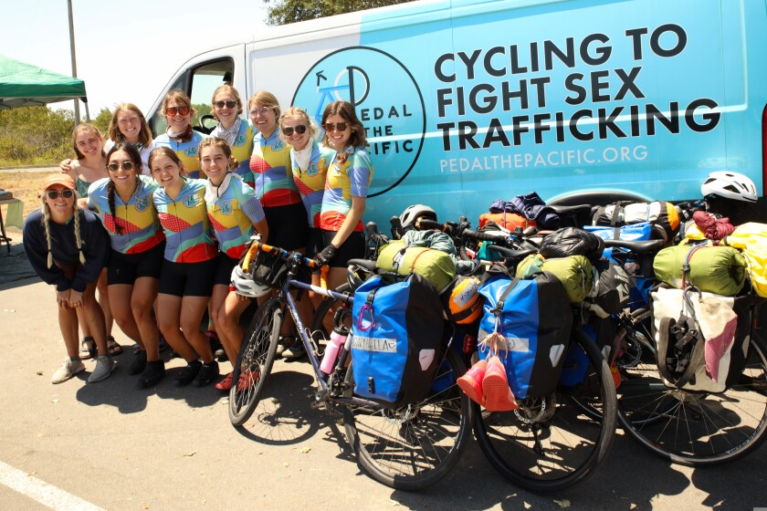 A cycling team on a mission swung through town this week.