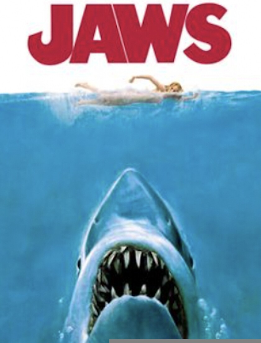 """A movie poster for """"Jaws."""""""