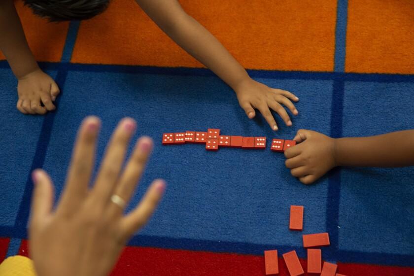 Children play math games