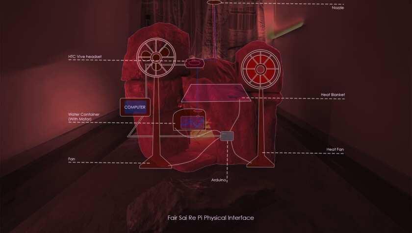 "An illustration shows digital artist Haoran Chang's virtual installation ""Fair Rai Se Pi (Fire Therapy)."""