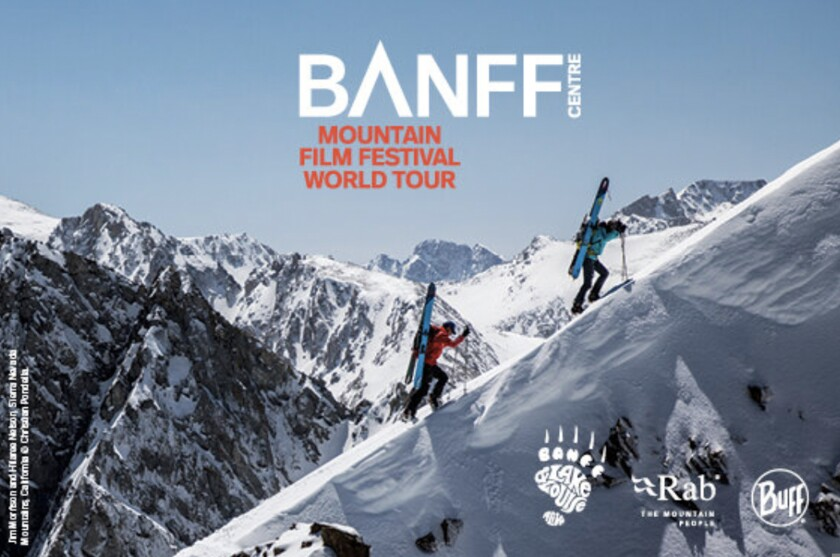 A promotional flyer for Banff Centre Mountain Film Festival World Tour
