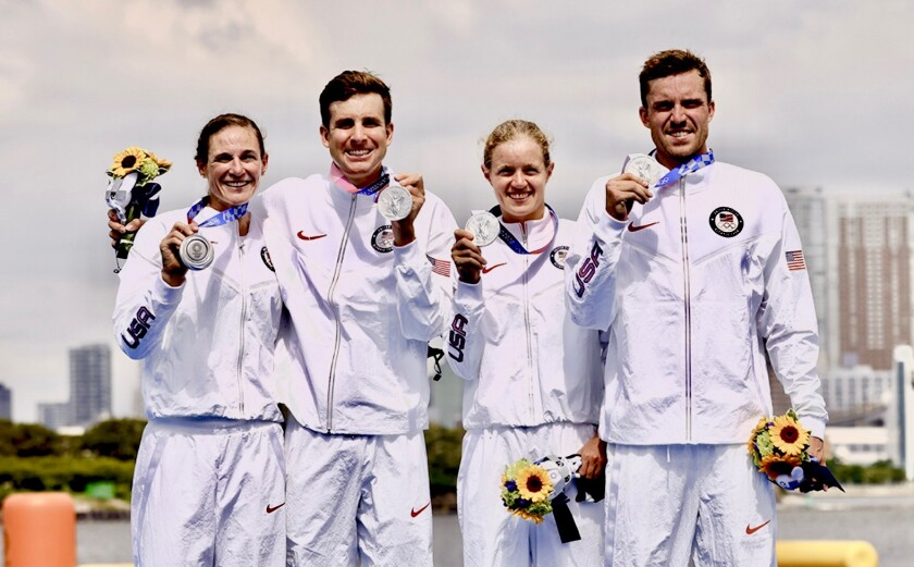 The silver-medal winning team in Tokyo, including Katie Zaferes at left.