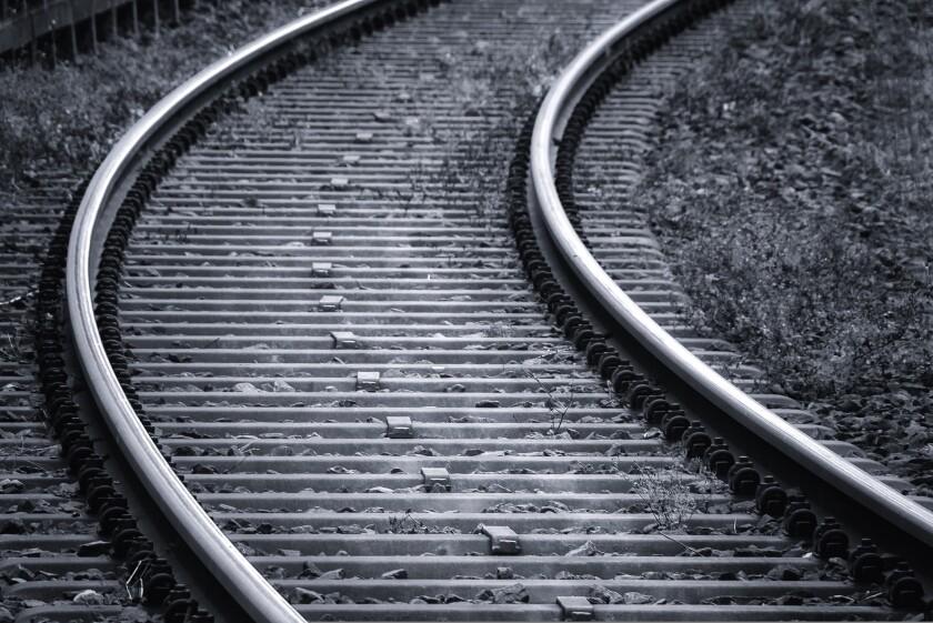 Stock image of train tracks