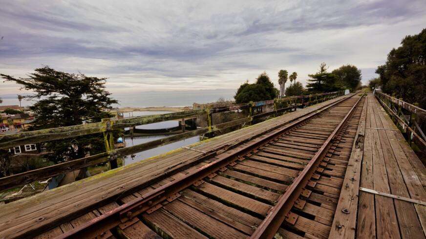 A section of the coastal rail corridor overlooking Capitola in Santa Cruz County.