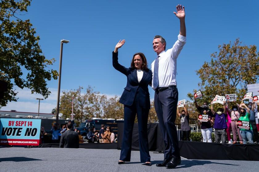 Vice President Kamala Harris joins California Governor Gavin Newsroom at a rally