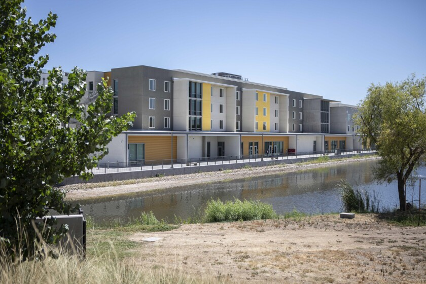 Newly-built student housing at UC Merced on August 2, 2019. Photo by Anne Wernikoff for CalMatters