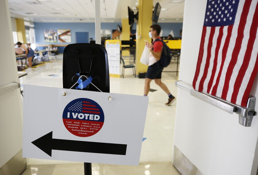 LOS ANGELES, CA - SEPTEMBER 14: Students, staff and nearby residents cast their ballots at UCLA