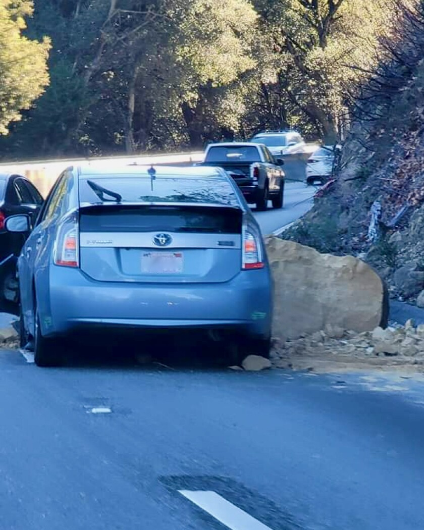 A photo contributed by David Witkowski shows the car that was hit by a rockslide.