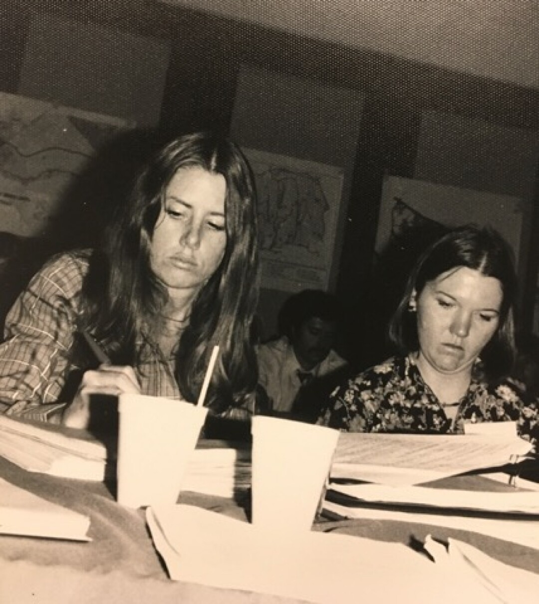 Susan Hansch, left, at a meeting in the 1970s with Charlotte Higgins, the coastal commission's press officer at the time.