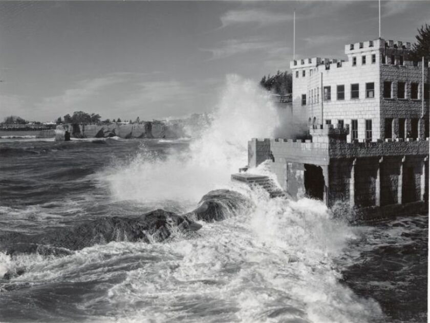 A historical photo of a storm at Seabright Beach in Santa Cruz.
