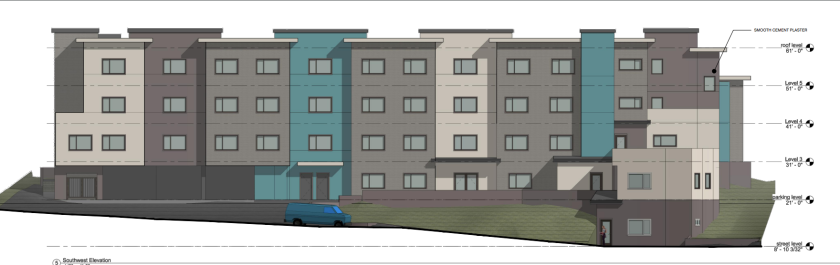 A preliminary rendering of a 50-unit affordable housing development proposed for 314 Jessie St. in Santa Cruz.