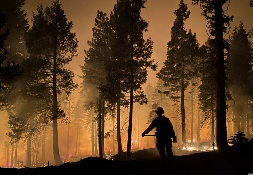 A firefighter at the Dixie fire