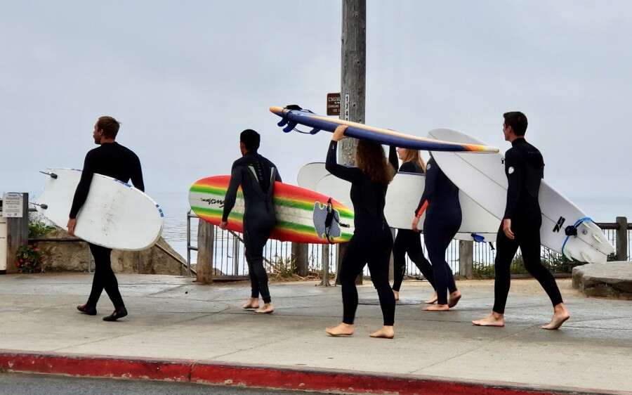 A sign of concern for already crowded surf lineups: packs of foamie-toting beginners headed out en masse.