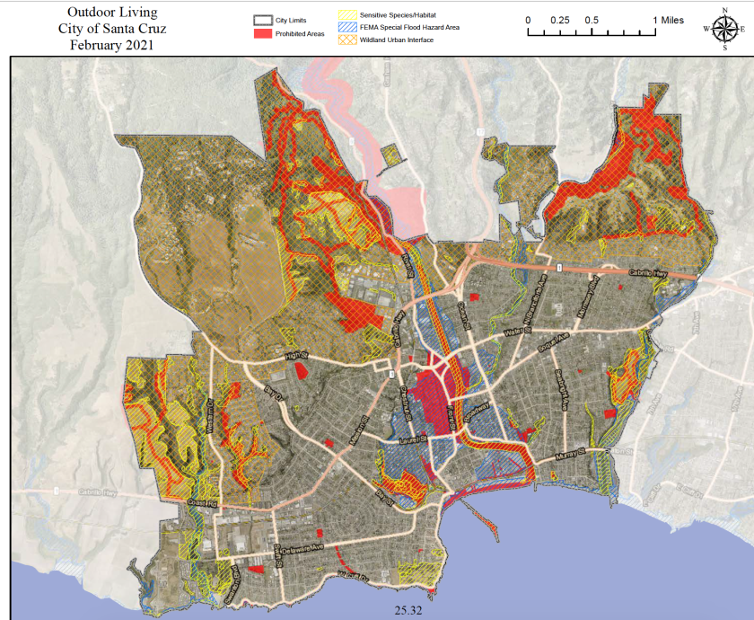 A map of Santa Cruz showing areas where unsheltered people can't camp, and areas that might be off-limits under a new law.