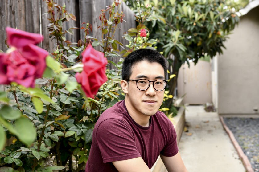 """SF State graduate student Richard Lin poses for a portrait at his home in Rowland Heights on May 11, 2021. """"I think a lot of folks have been activated after attacks on the vulnerable and elderly."""" Photo by Pablo Unzueta"""