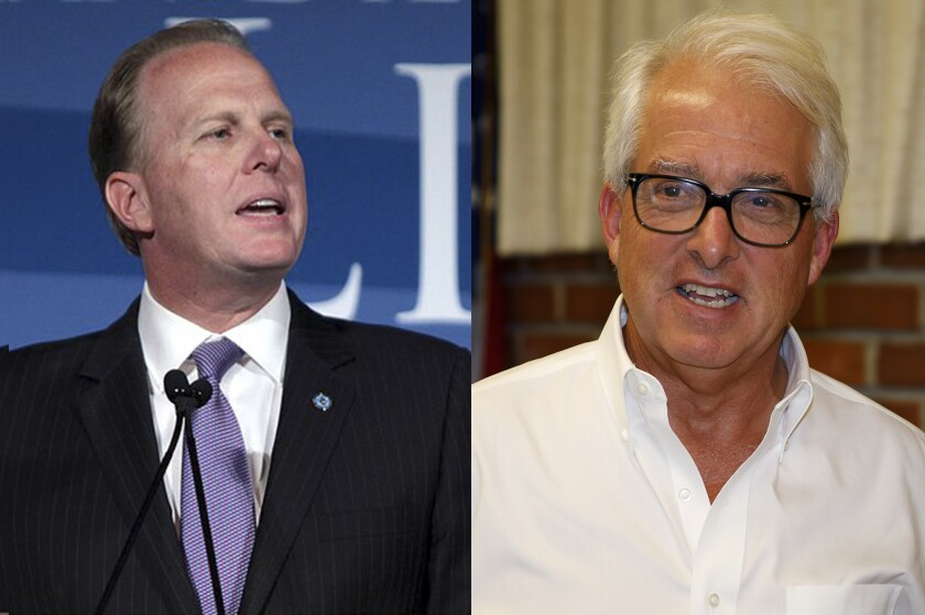 Likely Newsom opponents in a recall election include Kevin Faulconer, left, and John Cox.