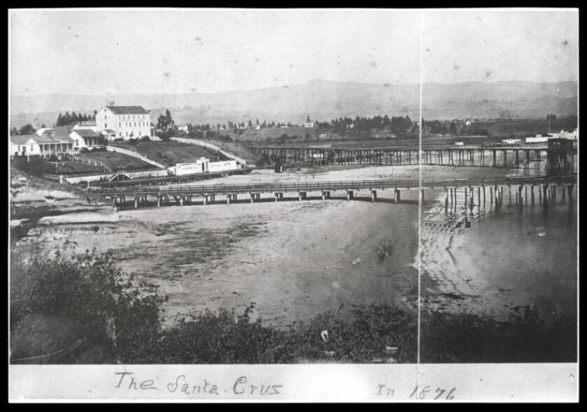 A historical photo of the Santa Cruz Wharf from 1876.