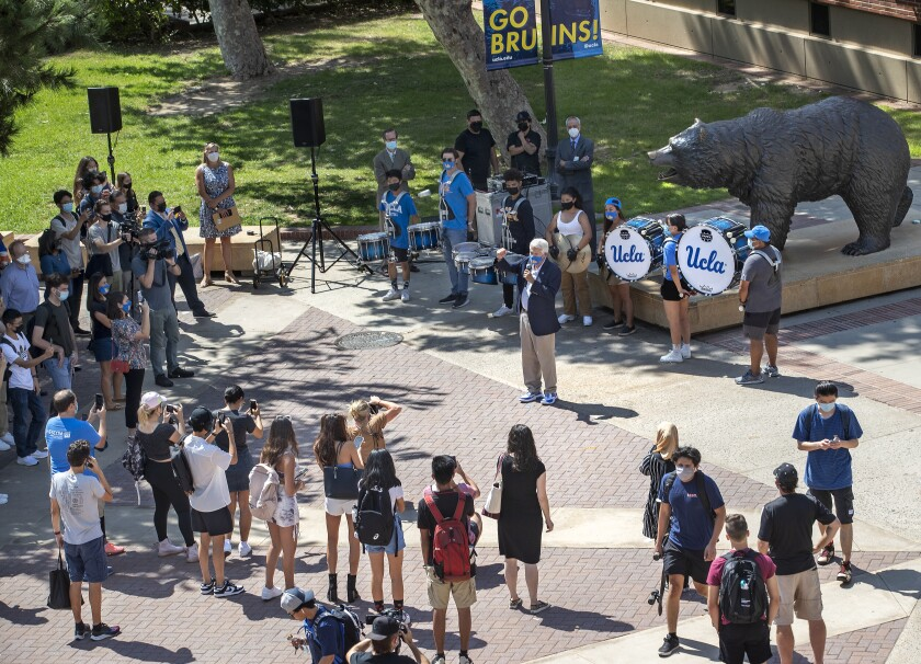 UCLA chancellor Gene Block welcomes students to the campus on the first day of classes at UCLA
