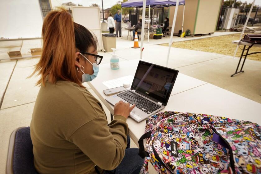 Maria Adolfo studies away at Cabrillo College's Watsonville Center.