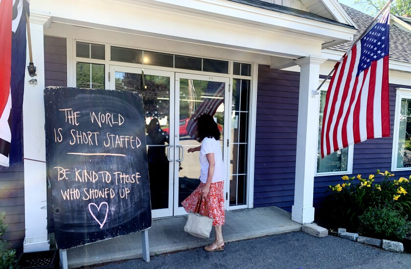 A woman enters a short-staffed bakery in Lincoln, Maine