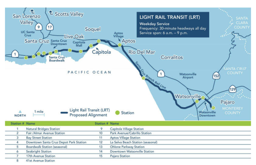 A preliminary map of an electric light rail route in Santa Cruz County.