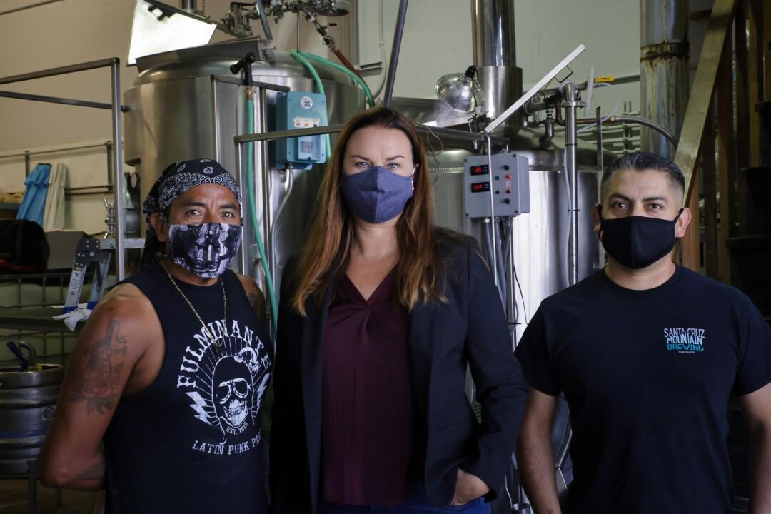 Emily Thomas (center) and crew at Santa Cruz Mountain Brewing.