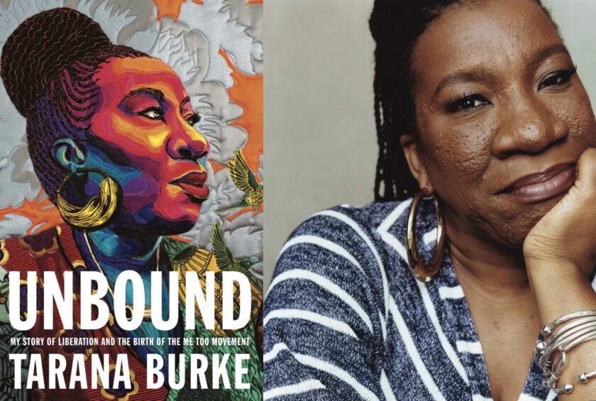 "Activist Tarana Burke and the cover of her memoir ""Unbound"""